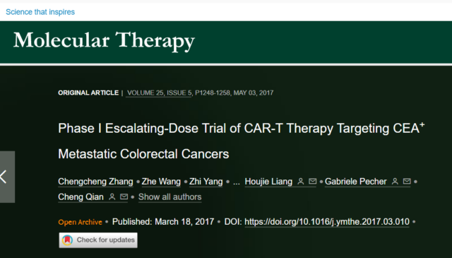 CAR-T therapy challenges colorectal cancer