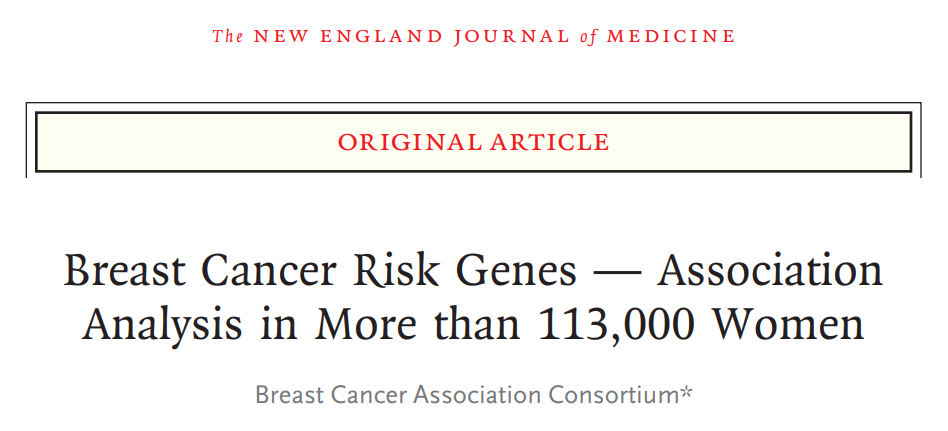 NEJM: 12 genes are closely related to increased breast cancer risks