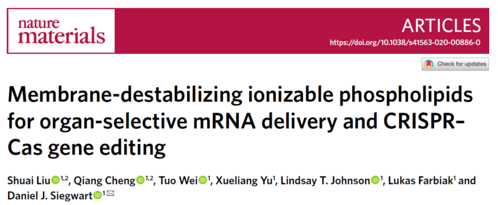 Nature: Nano-drug carriers have organ selectivity for delivery of mRNA and CRISPR gene editing