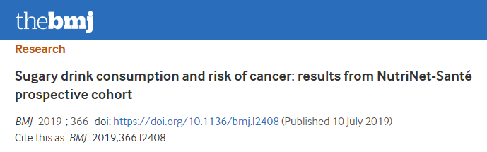 100ml sugar-sweetened beverages daily increases the cancer rate by 18%