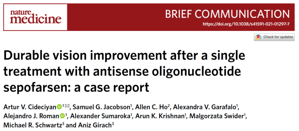Antisense oligonucleotides for long-term treatment of congenital blindness
