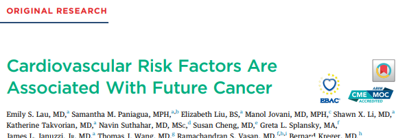 Harvard: Preventing cancer can start from preventing cardiovascular disease!