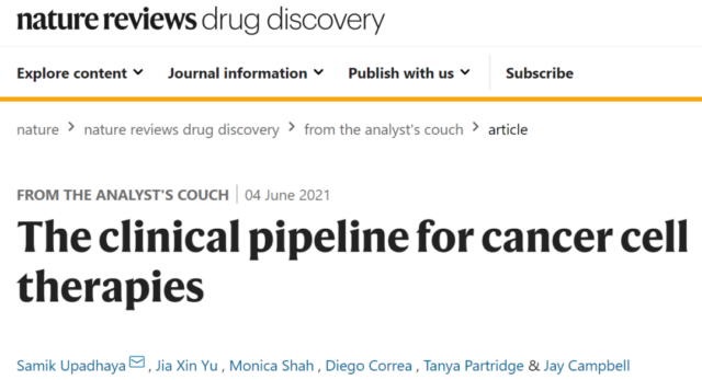 Nature:Global cancer cell therapy research and development pipeline summary