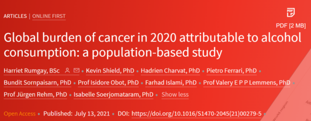 740000 people worldwide suffer from cancer in 2020 due to Alcohol