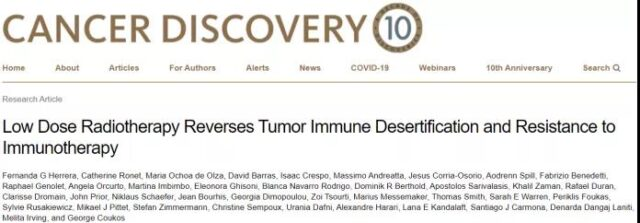Low-dose radiotherapy reverses immunotherapy resistance