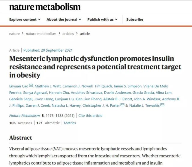 Nature Sub-Journal: It is the underlying cause of obesity and insulin resistance?