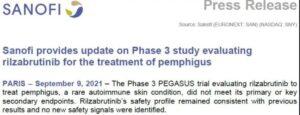 FIC: Sanofi Rilzabrutinib Pemphigus Phase 3 Clinical Failure