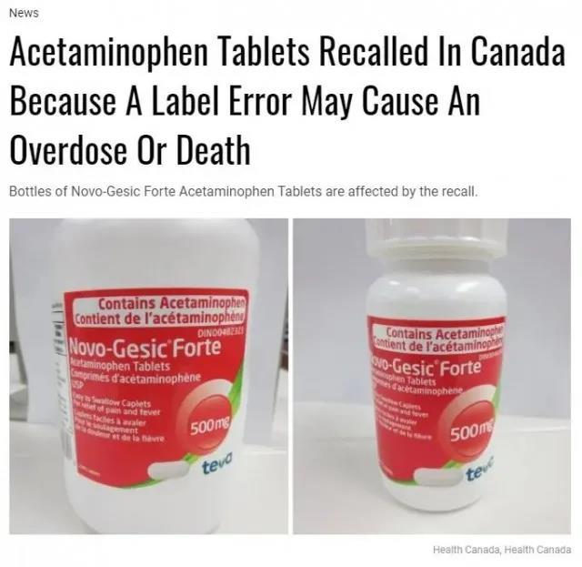 Canada Emergency Drug Recall: The label error may cause death