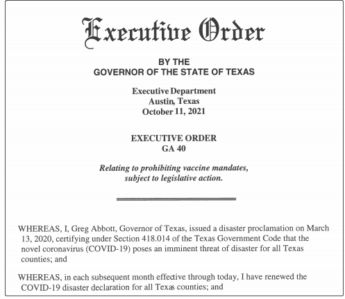 Governor of Texas: No company can force employees to be COVID-19 vaccinated