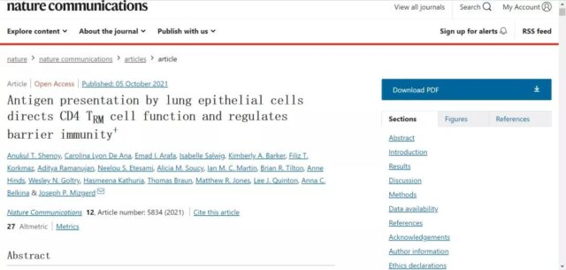 Nature: How do Lung epithelial cells control lung immunity?